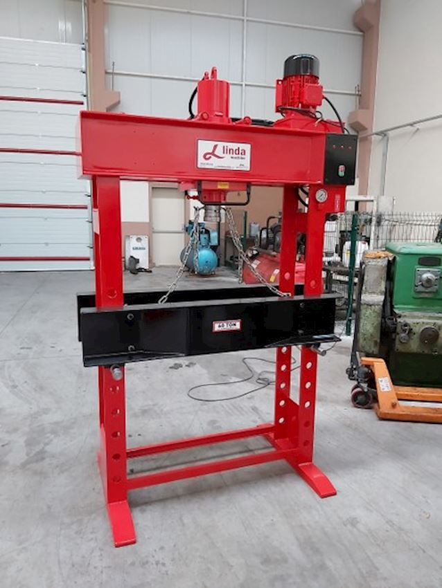 Linda Hydraulic Workshop press with 60 Ton Traveling Head Motor