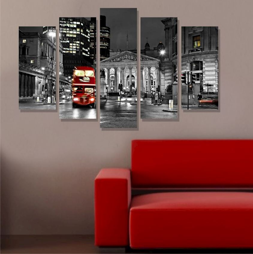 London Mdf Painting 5 Pieces 100x60cm