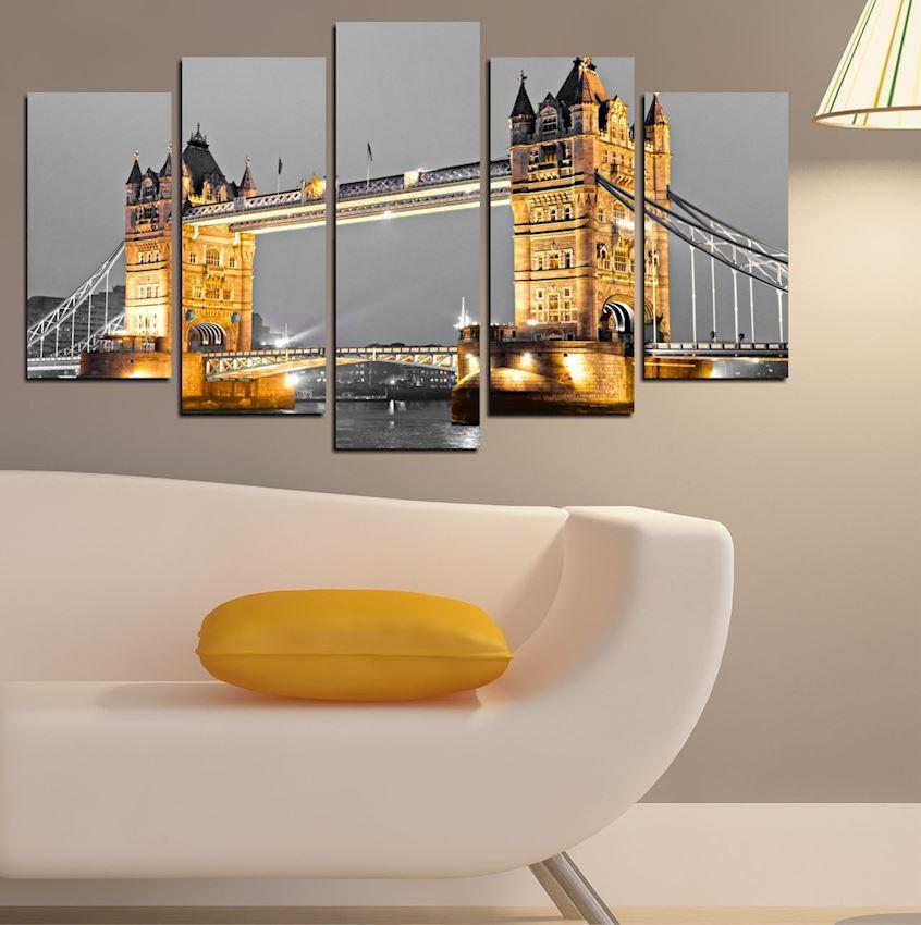 London tower bridge 5 Pieces Mdf Painting 102x60x2.1cm