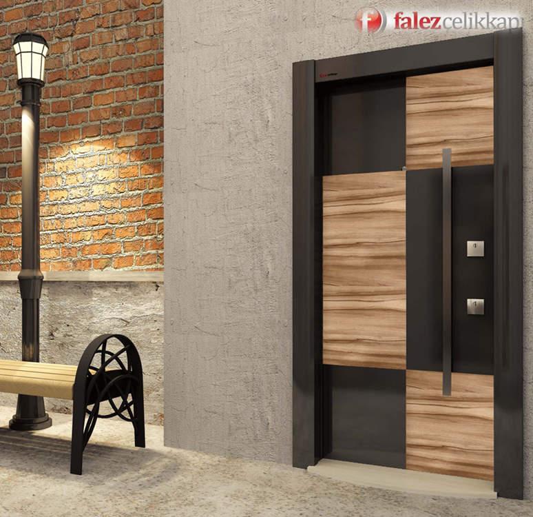 Luxury steel door Black King Milano Ceviz
