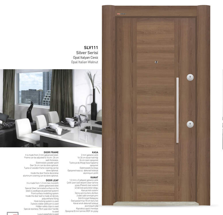 Luxury Steel Door Silver Series İtaly Opal Ceviz