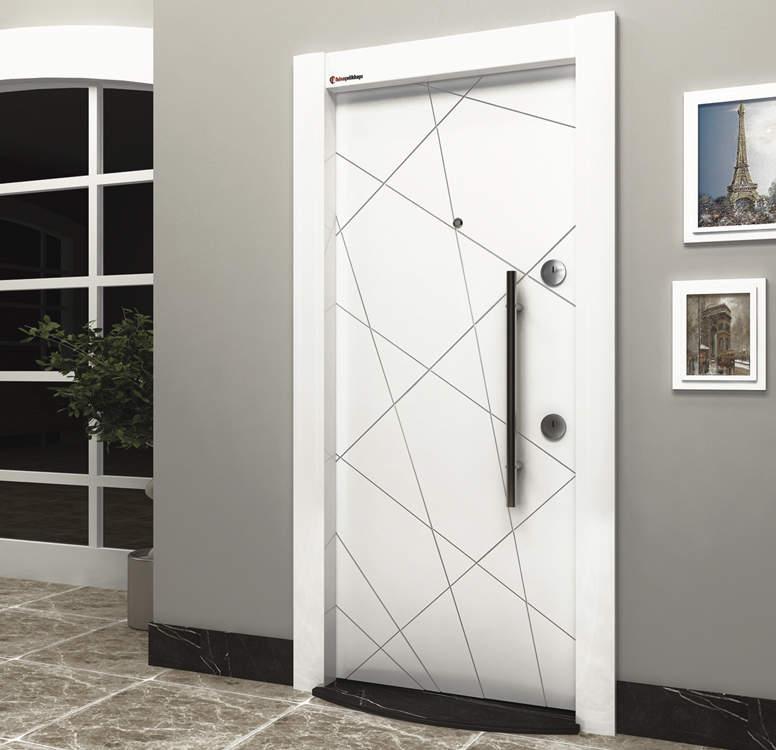 Luxury Steel Door Silver Series White Star