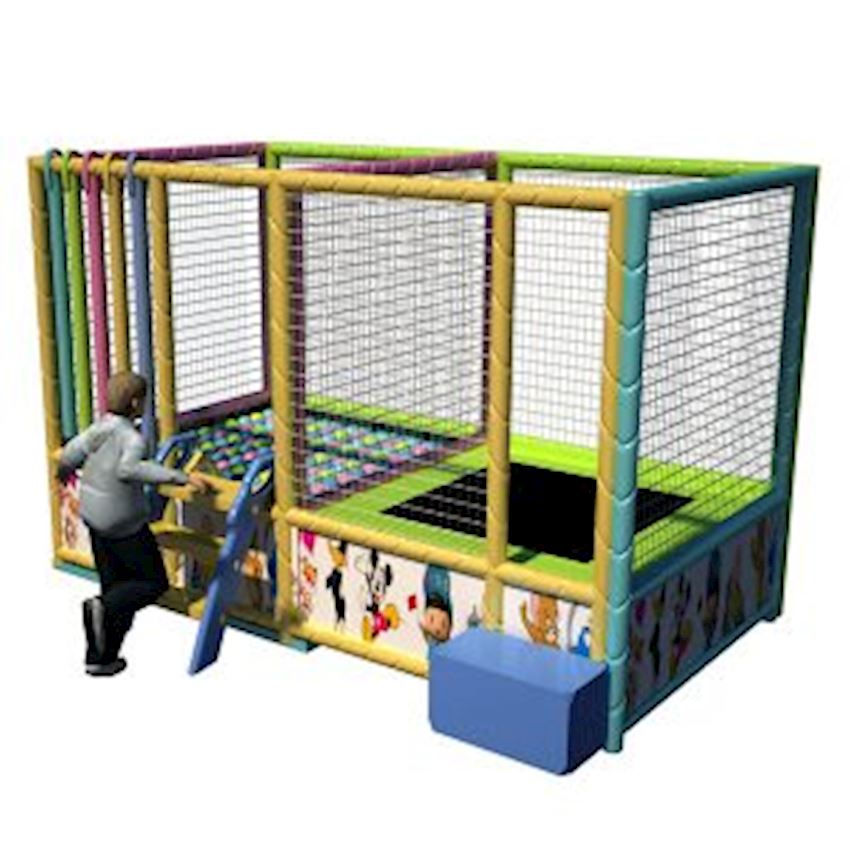 Metal Ball Pool & Trampoline Set 160x320x200 cm Amusement Park