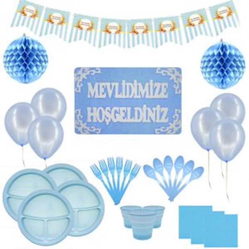 Mevlid Day Set for 20 People Blue 134 Pieces Event & Party Supplies