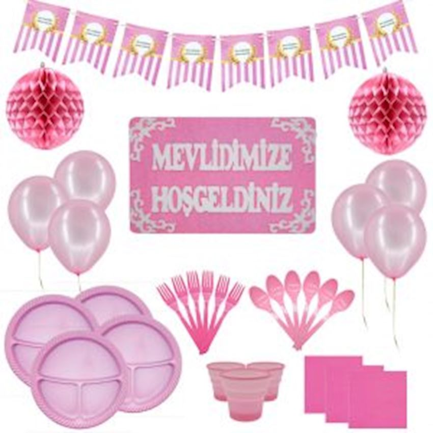 Mevlid Day Set for 20 People Pink 134 Pieces Event & Party Supplies