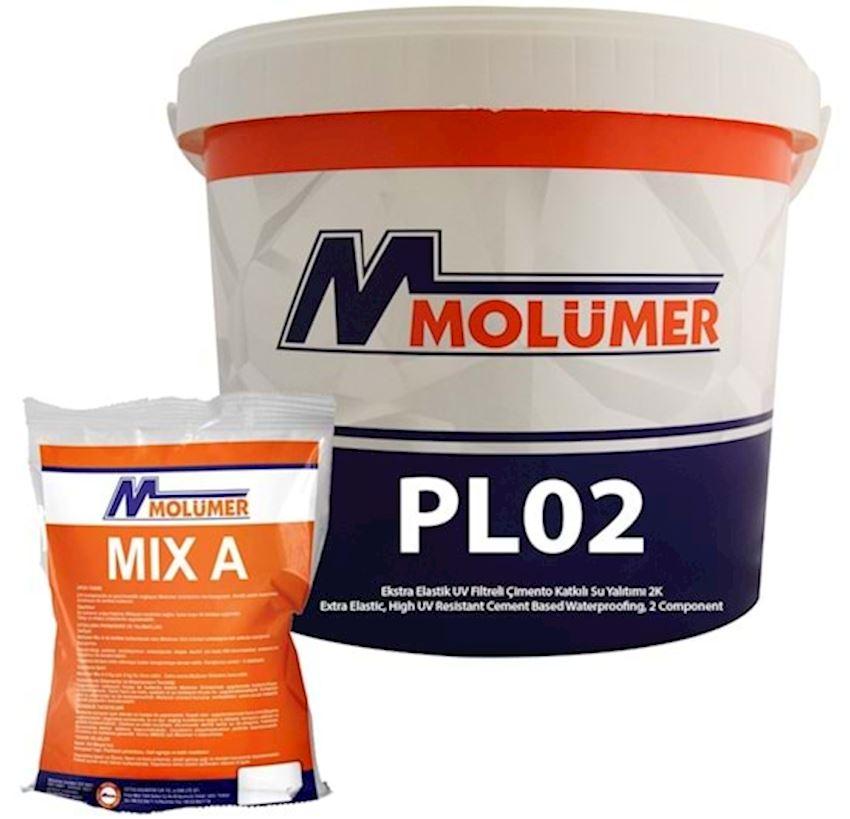 Molumer Pl02 Extra Elastic Uv Filtered Cement Added Waterproofing 2k 18kg + 6kg Waterproofing Materials