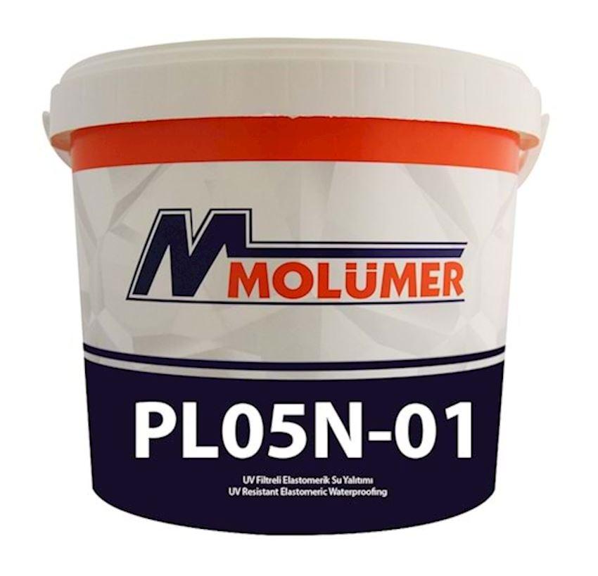 Molumer Pl05n-01 Elastomeric Waterproofing With Uv Filter - Gray - 20 Kg Waterproofing Materials
