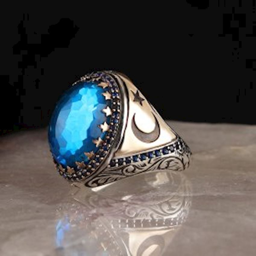 Moon Star Aqua Blue Zirkon 925 Sterling Mens Silver Ring