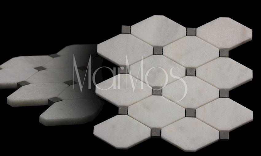 Mugla White - Royal Grey Boliche Mosaic Marble Stone