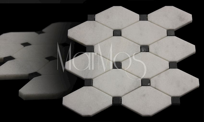Mugla White - Toros Black Boliche Mosaic Marble Stone