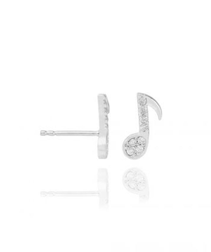 Musical Note Stud Earrings, Clear