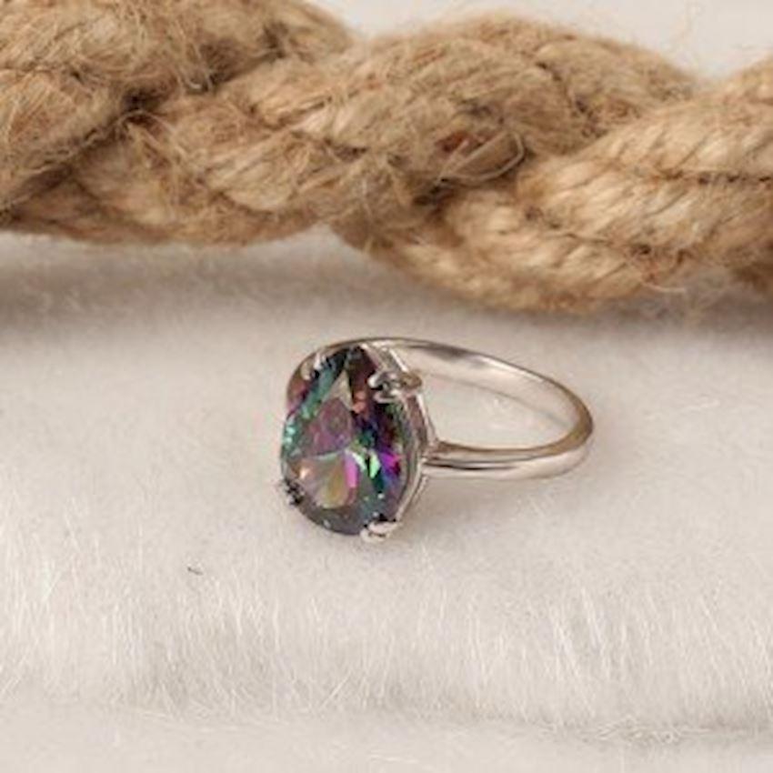 Mystic Topaz Women's Silver Ring