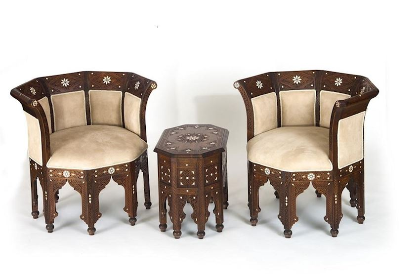 NAKKASH CARVED INLAID BERGERE SET