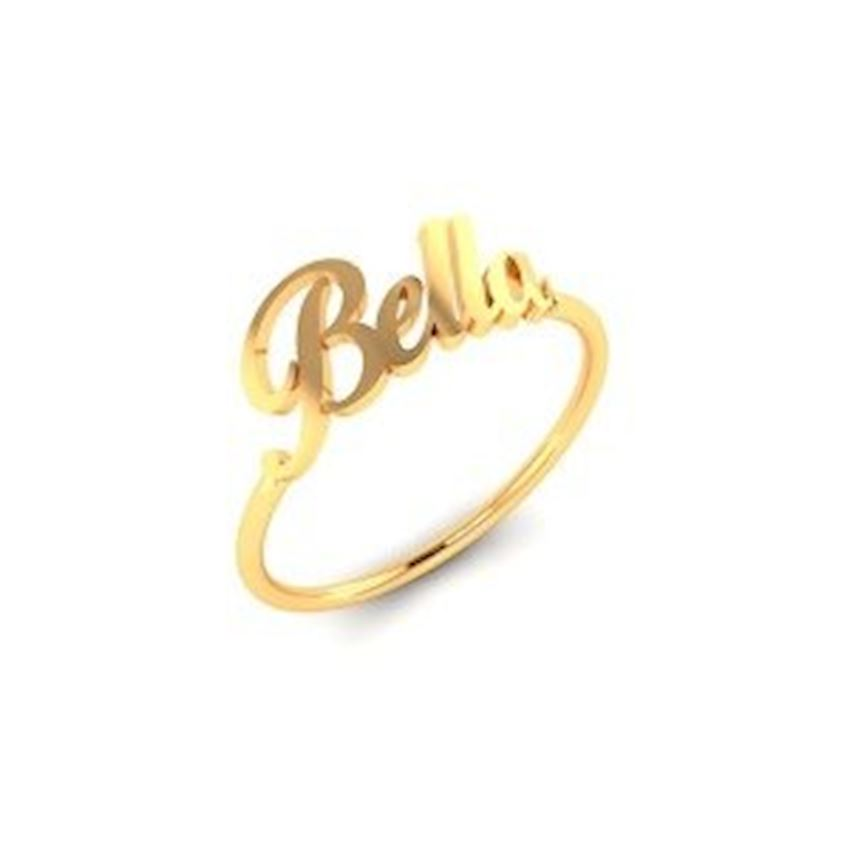 Name Written Zircon Gold Plated Women's Silver Ring