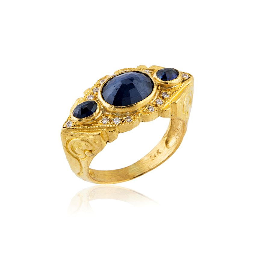 Navy Blue Colored 3 Stone Ring