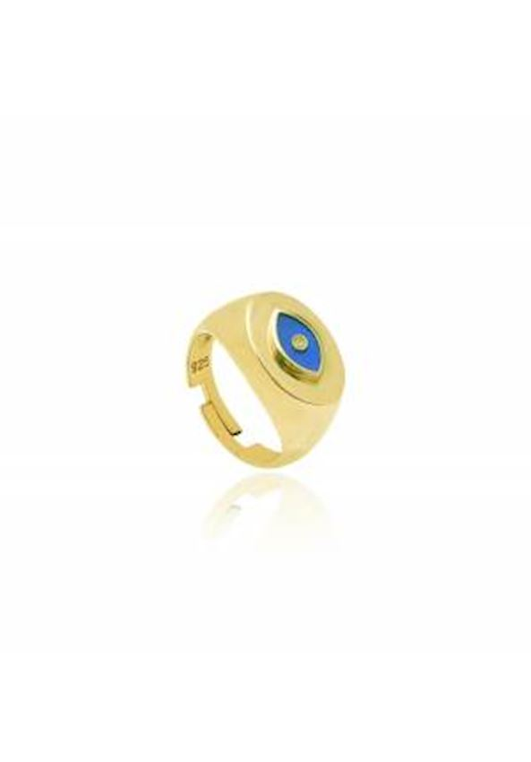 Navy Blue Enameled Eye Silver Ring