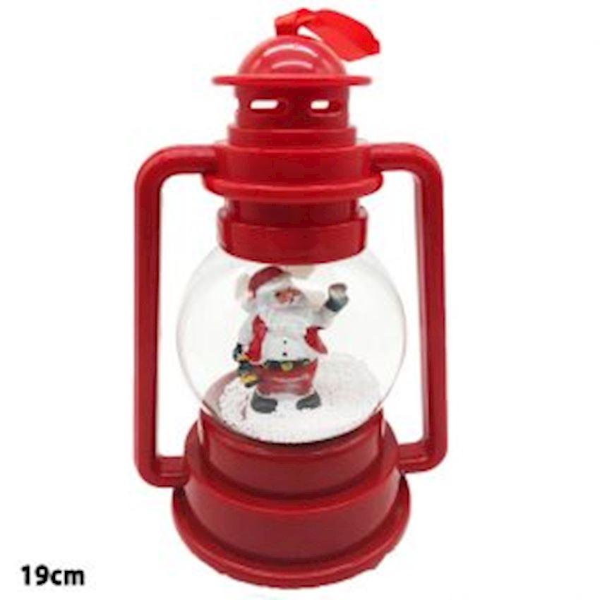 Nostalgic Lighted Musical Lantern Shape Plastic Snow Globe 18cm Christmas Decoration Supplies