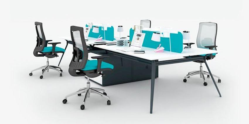 Office Furniture Deep Quad Wide Quad Workstation Desk 4 Person Desk