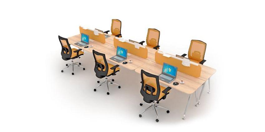 Office Furniture Ikon Quad Wide Quad Workstation Desk 4 Person Desk
