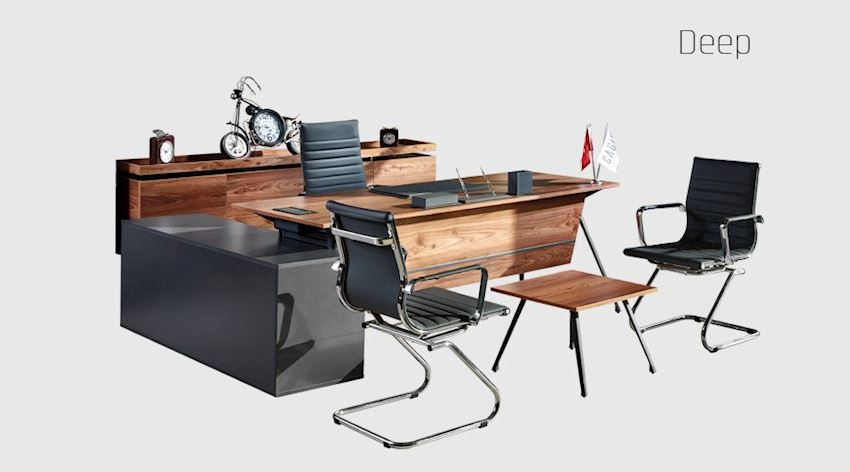 Office Furniture Set Deep Executive Desk Set (Desk, Table, Storage Drawer Cabinet)