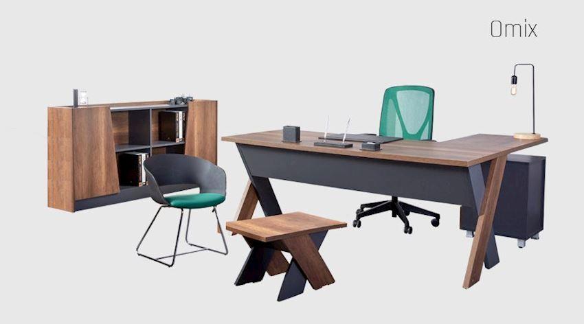Office Furniture Set Omix Executive Desk Set (Desk, Table, Storage Drawer Cabinet)