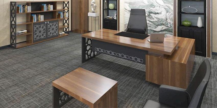 Office Furniture Set Ottoman Executive Desk Set (Desk, Table, Etagere Shelves)