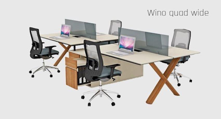 Office Furniture Wino Quad Wide Quad Workstation Desk 4 Person Desk