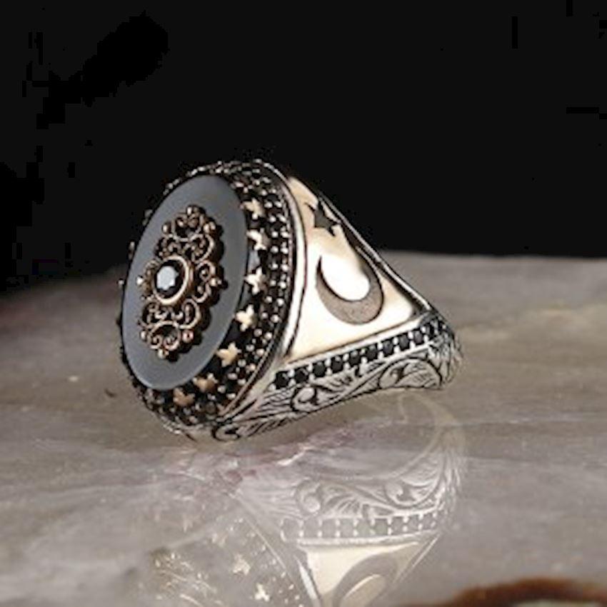 Onyx Sterling Silver 925 Sterling Silver Men Ring
