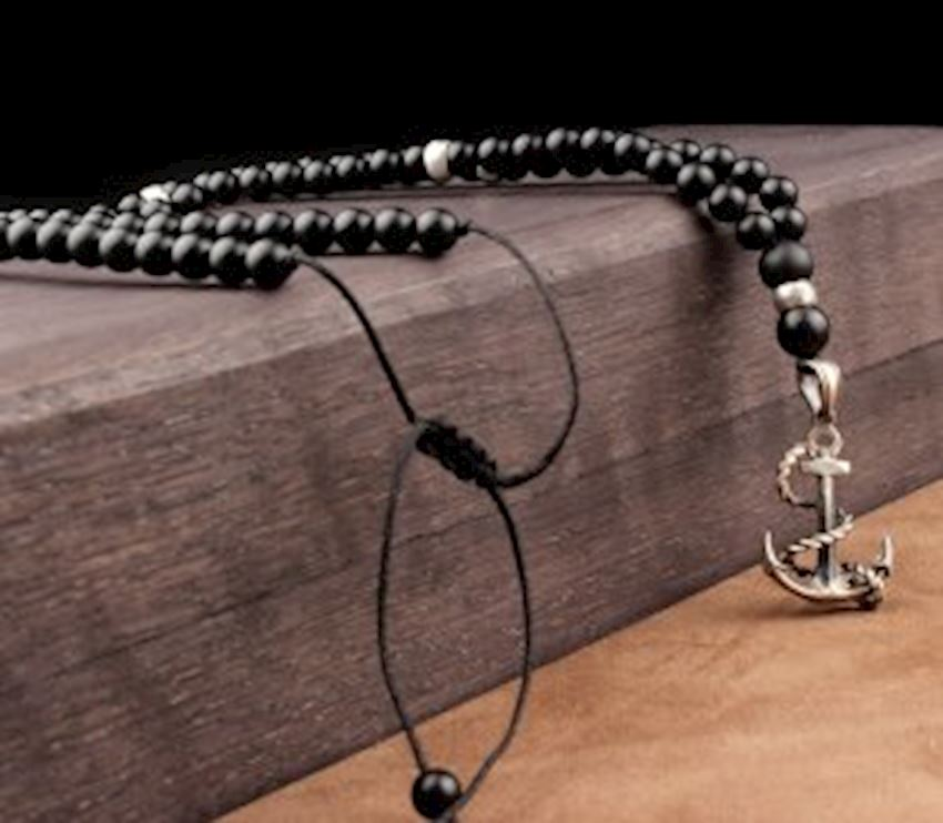 Onyx Stone Anchor Model Natural Stone Men Necklace