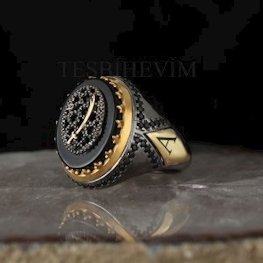 Onyx Stone Lettering Lapping Silver Ring
