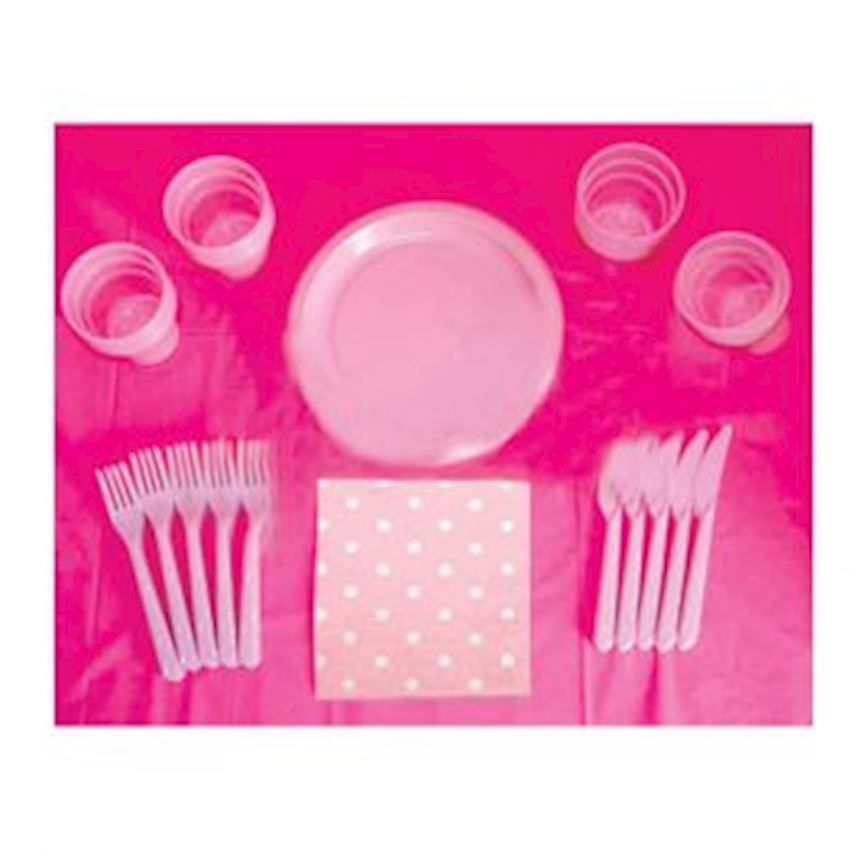 Party Set For 20 People Pink 121 Pieces Event & Party Supplies