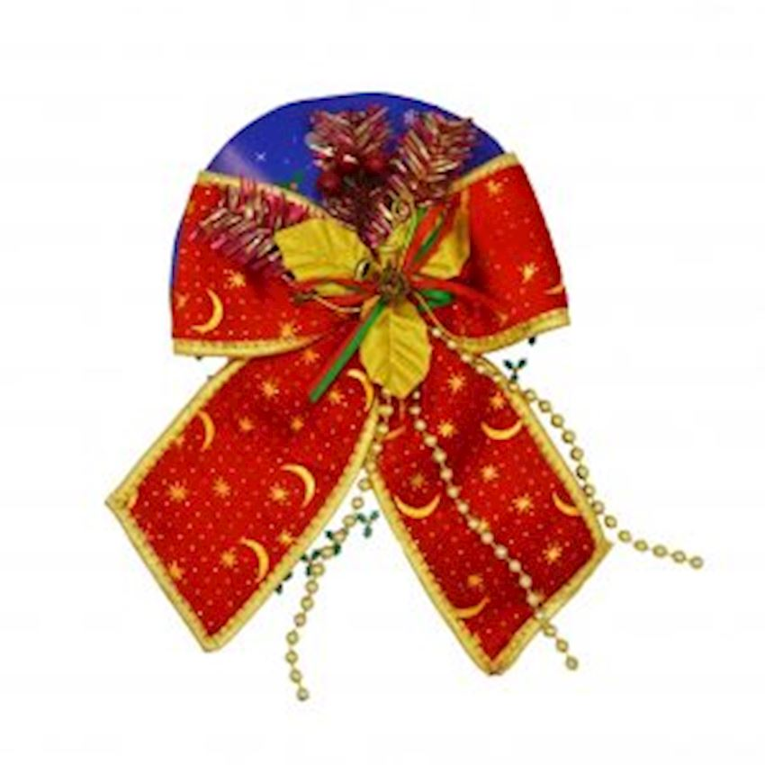 Patterned Bow Christmas Ornament Red 20cm Christmas Decoration Supplies