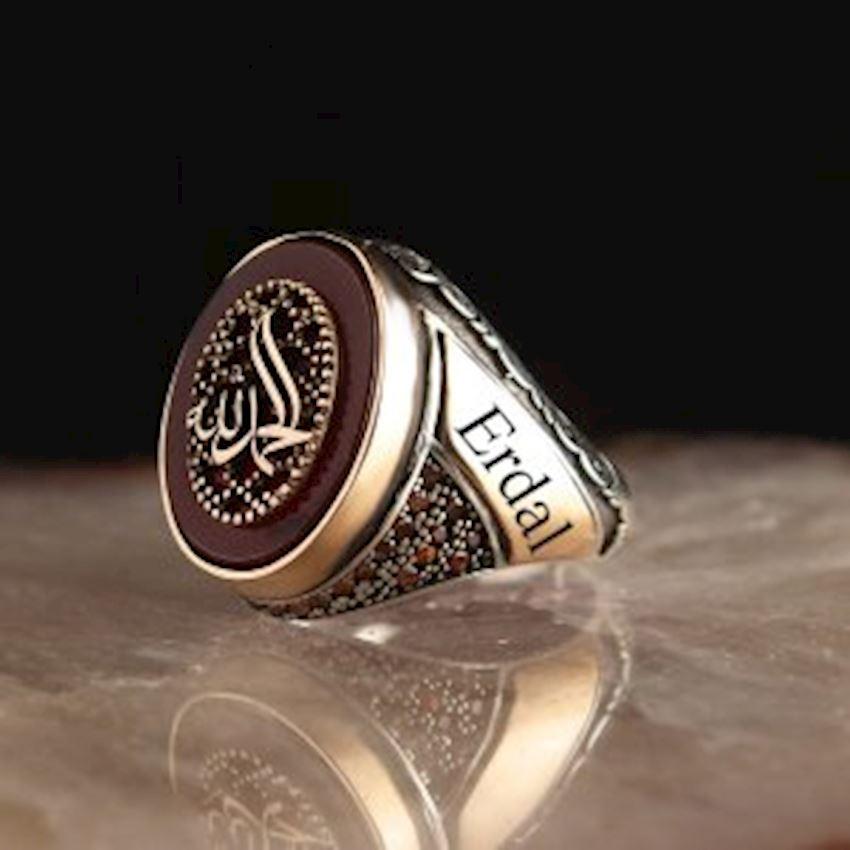 Personalized Name Written Agate Zirkon Alhamdulillah Written 925 Sterling Mens Silver Ring