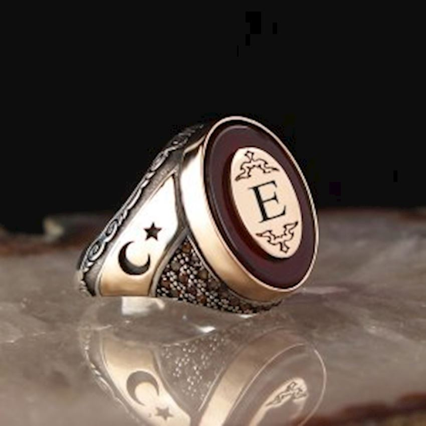 Personalized Sterling Silver 925 Sterling Silver Ring with Agate