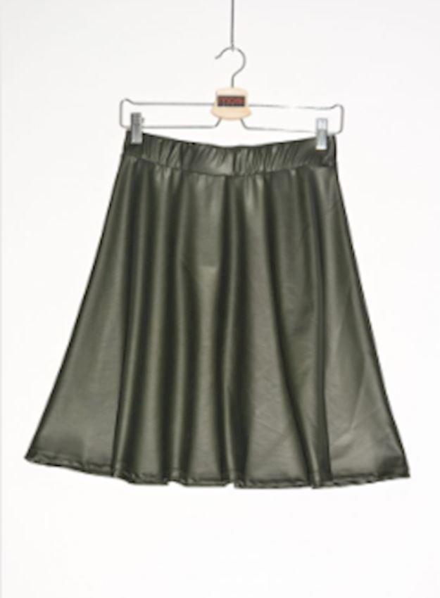 Pleated Leather Black Mini Skirt