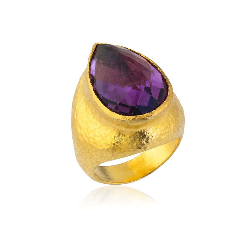 Purple Stone Water Drop Ring