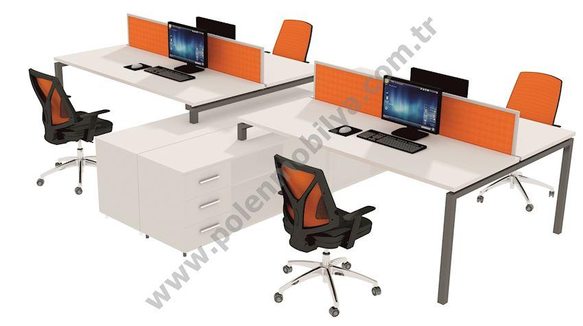 Quadruple Working Group with Shelf: 360x280x75h