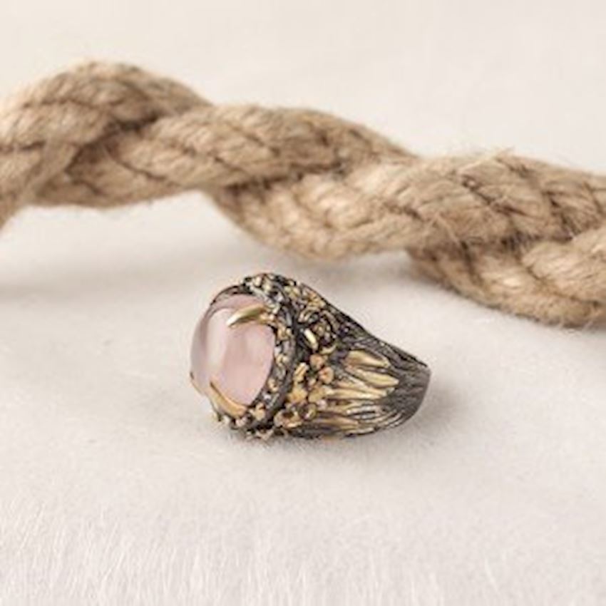 Quartz Stone Handcrafted Women's Silver Ring