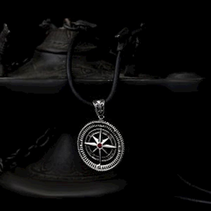 Red Zircon Compass Model 925 Sterling Silver Men Necklace