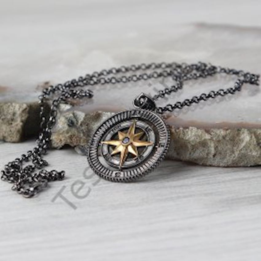 Rhodium Compass Model Silver Necklace