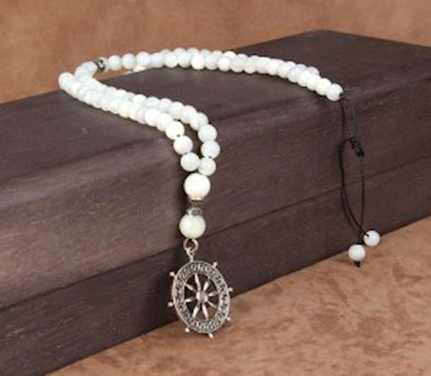 Rudder Symbol Mother of Pearl Silver Necklace
