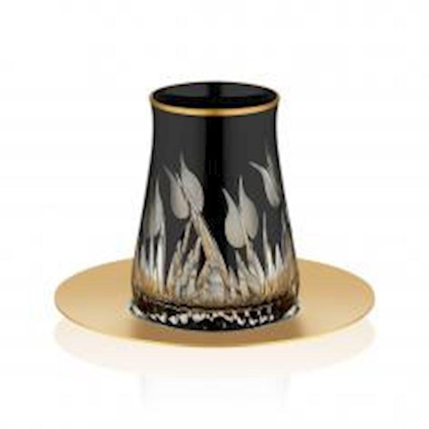 Rumeli Tea Sets TARABYA MAT BLACK STEEL TEA ST 6 PIECE LALE
