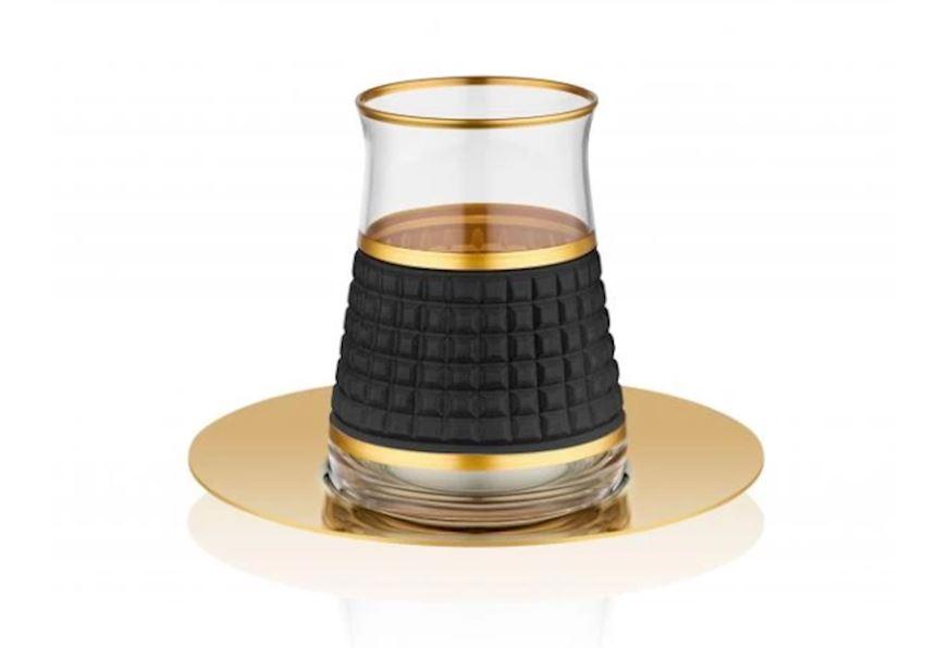 Rumeli Tea Sets TARABYA MAT STEEL TEA ST 6 PIECE OSCAR BLACK