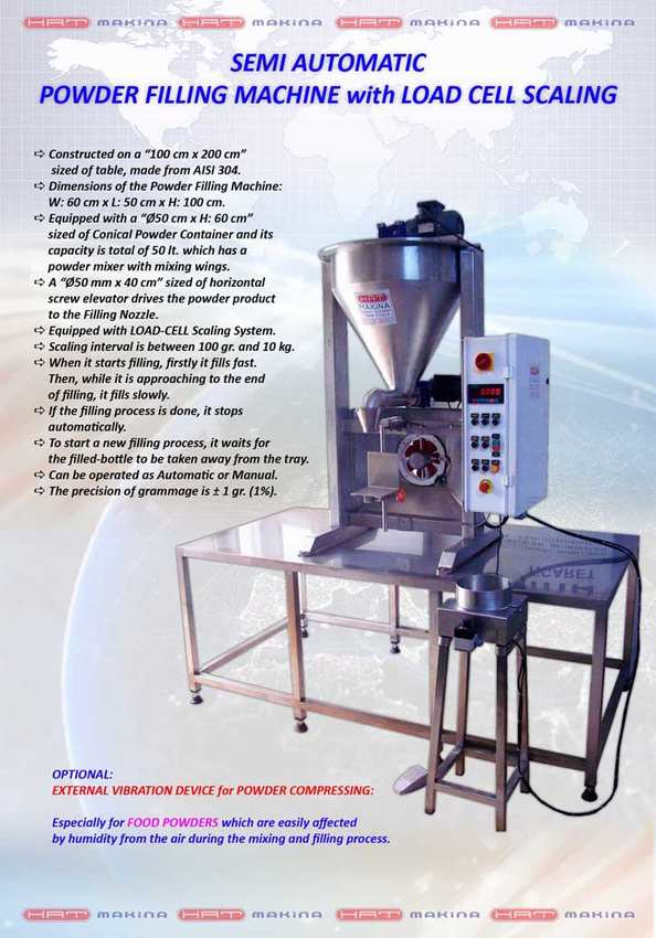 SEMI AUTOMATIC POWDER FILLING MACHINE with LOAD CELL WEIGHING SYSTEM