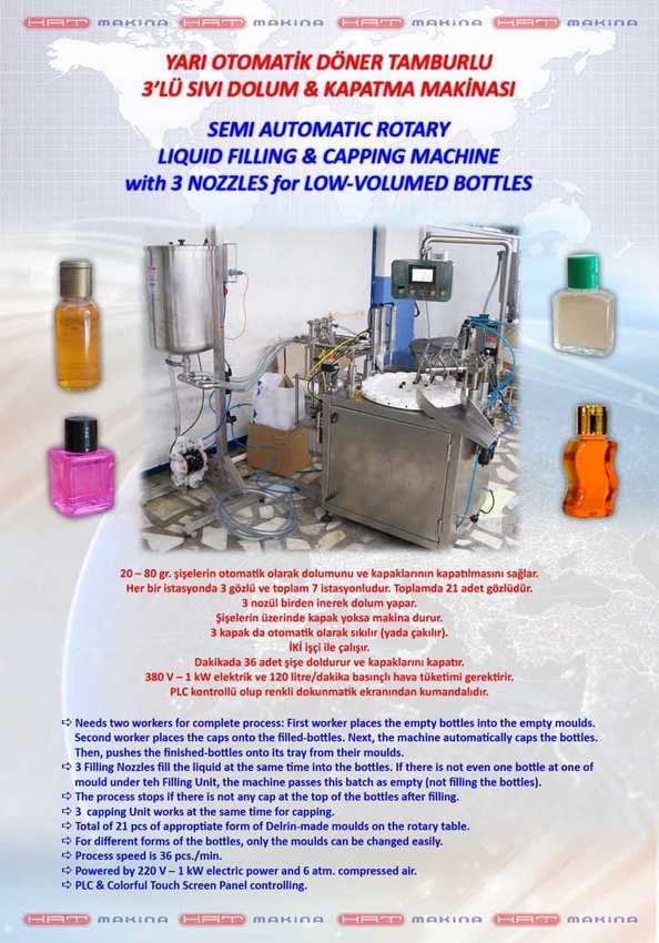 SEMI AUTOMATIC ROTARY LIQUID FILLING MACHINE