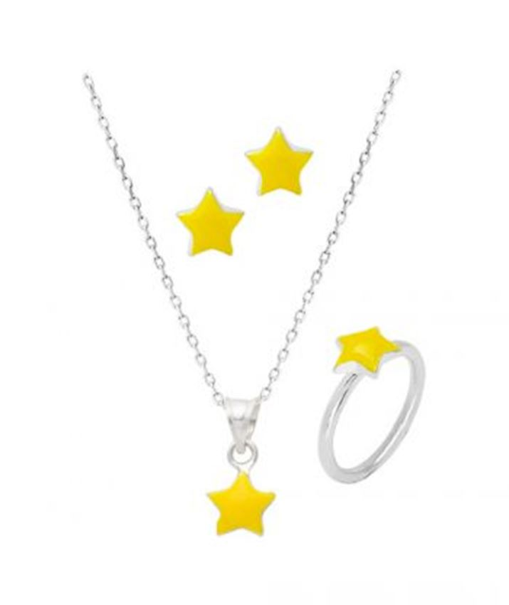 SET OF 3 Star Necklace, Ring, Earrings Kids Set, Yellow