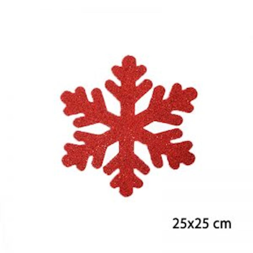 Silvery Foam Snowflake Red 25x25cm Christmas Decoration Supplies
