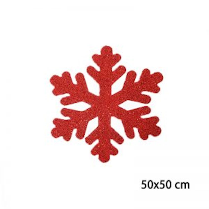 Silvery Foam Snowflake Red 50cm Christmas Decoration Supplies