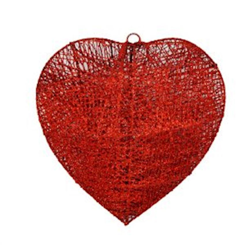 Silvery Metal Wire Heart Ceiling Ornament Red 30cm Christmas Decoration Supplies