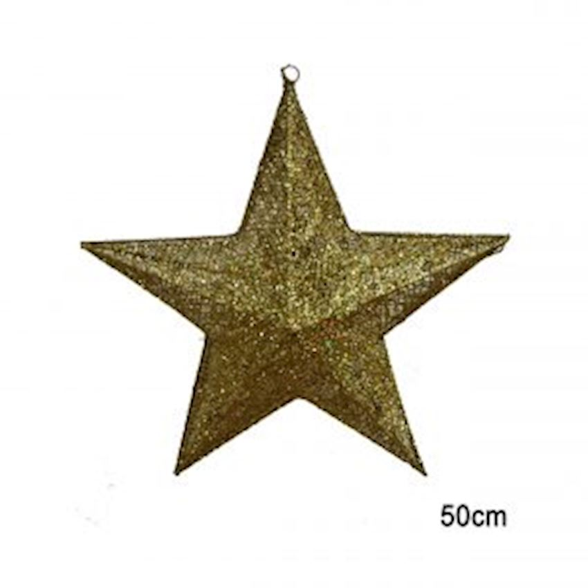 Silvery Metal Wire Star Ceiling Ornament Gold 50cm Christmas Decoration Supplies